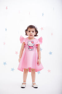 Girls Pink Lycra Hello Kitty Dress
