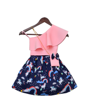 Load image into Gallery viewer, Girls Pink Lycra Top With Printed Skirt