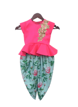 Load image into Gallery viewer, Girls Pink Peplum Top With Floral Dhoti