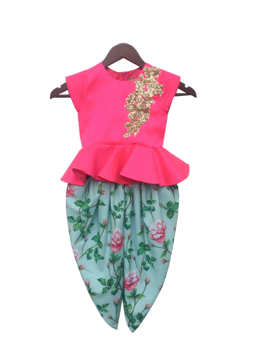 Girls Pink Peplum Top With Floral Dhoti