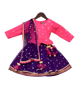 Girls Pink & Purple Sequence Embroidery Anarkali Dress