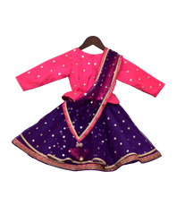 Load image into Gallery viewer, Girls Pink & Purple Sequence Embroidery Anarkali Dress