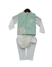 Load image into Gallery viewer, Boys Pista Green Embroidery Nehrujacket With Kurta & Churidar