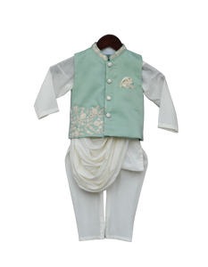 Boys Pista Green Embroidery Nehrujacket With Kurta & Churidar