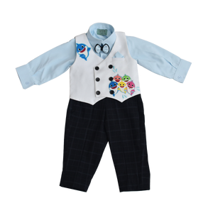 Boys Powder Blue Shirt With Black Check Pant & White Fish Print Waist Coat