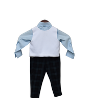 Load image into Gallery viewer, Boys Powder Blue Shirt With Black Check Pant & White Iron Man Print Waist Coat