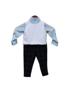 Boys Powder Blue Shirt With Black Check Pant & White Iron Man Print Waist Coat
