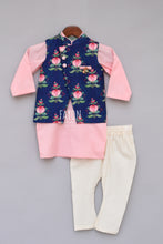 Load image into Gallery viewer, Boys Printed Nehru Jacket With Pink Kurta And Churidar