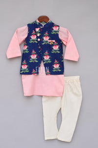 Boys Printed Nehru Jacket With Pink Kurta And Churidar