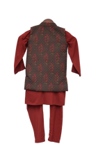 Load image into Gallery viewer, Boys Printed Nehru Jacket With Kurta & Churidar