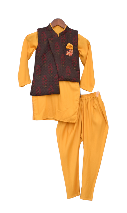 Boys Printed Nehru Jacket With Yellow Kurta & Churidar