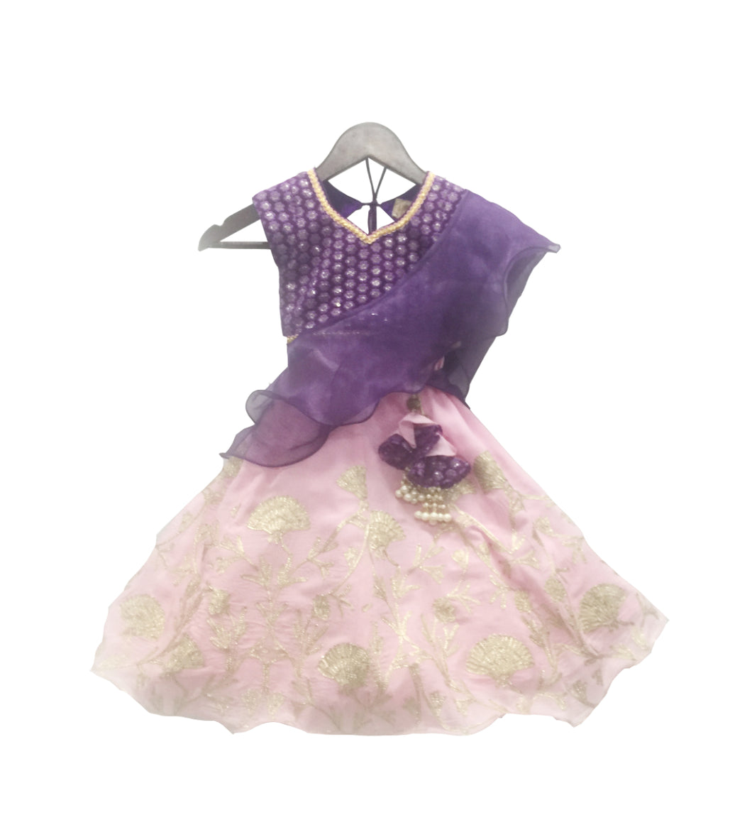Girls Purple Choli With Pink Lehenga