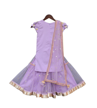 Load image into Gallery viewer, Girls Purple Embroidery Kurti With Purple Sharara