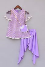 Load image into Gallery viewer, Girls Purple Bottie Net Kurti With Dhoti
