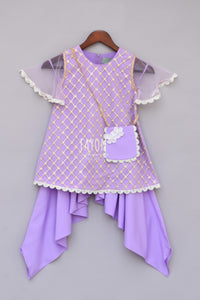Girls Purple Bottie Net Kurti With Dhoti