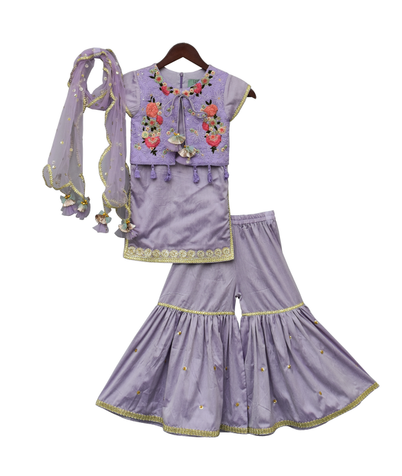 Girls Purple Kurti With Attached Phulkari Jacket & Sharara
