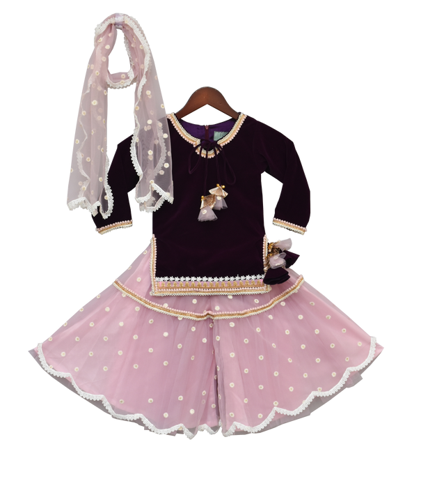 Girls Purple Velvet Kurti With Sharara in USA