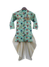 Load image into Gallery viewer, Boys Rama Green Brocade Ajkan With Dhoti