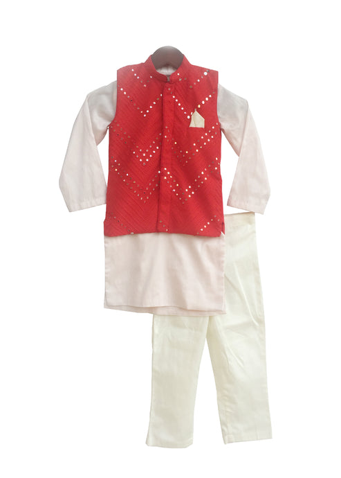 BOYS Red Mirror Work Jacket With Pink Kurta And Pant