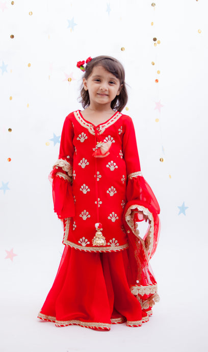 Girls Red Embroidery Kurti With Red Sharara