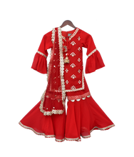Load image into Gallery viewer, Girls Red Embroidery Kurti With Red Sharara