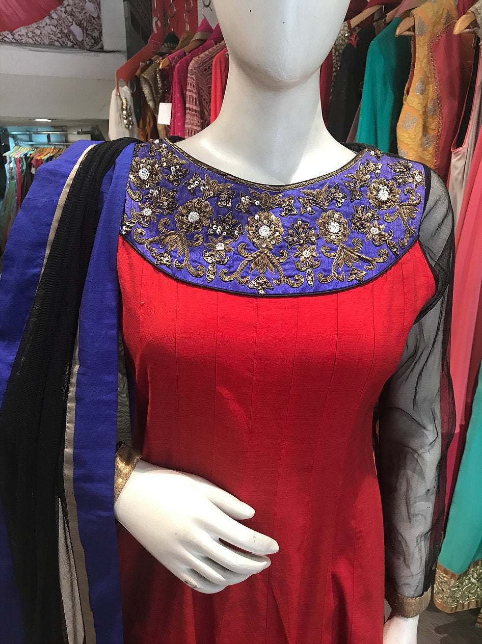 Red Traditional Anarkali Suit