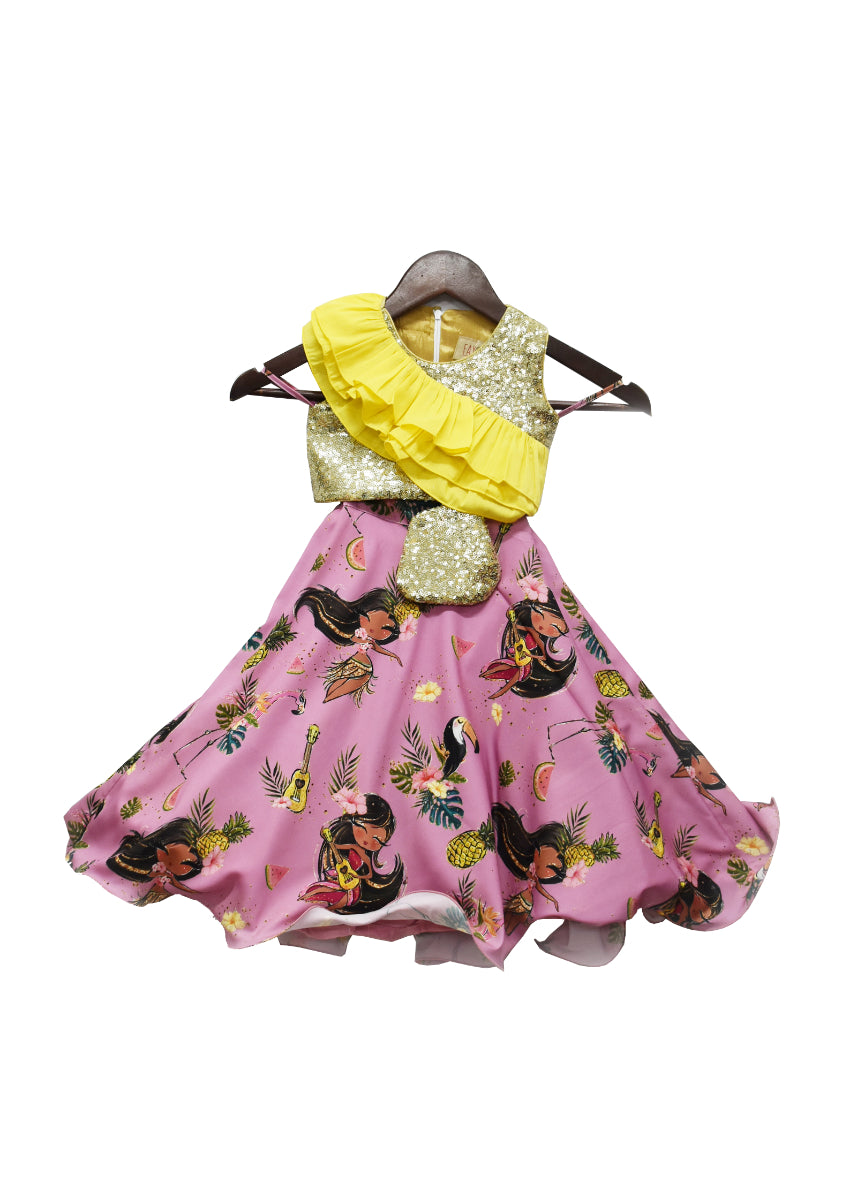 Girls Sequence Choli With Purple Print Lehenga