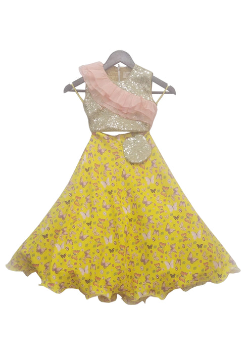 Girls Sequence Choli With Yellow Printed Lehenga