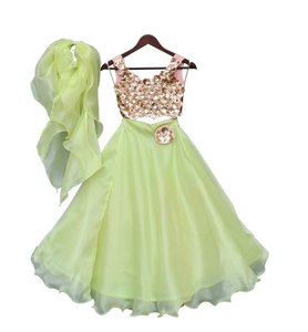 Girls Sequins 3D Flower Choli With Green Organza Lehenga