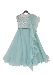 Girls Silver Top With Dusty Blue Organza Lehenga