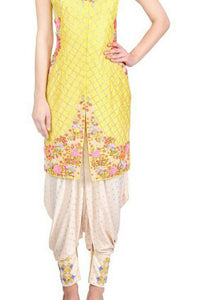 Straight Yellow Dhoti Suit