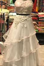 Load image into Gallery viewer, Three Layer Indowestern White N Pink Croptop Skirt