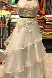 Three Layer Indowestern White N Pink Croptop Skirt