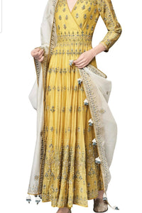 Traditional Angrakha Style Anarkali Suit