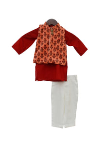 BOYS Velvet Print Jacket With Kurta Pant