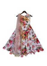 Load image into Gallery viewer, Girls White Floral Printed Lehenga Choli With Pink Dupatta