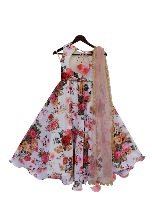 Girls White Floral Printed Lehenga Choli With Pink Dupatta