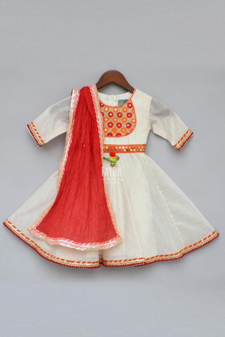 Girls White Anarkali Dress