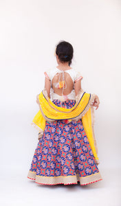 Girls White Embroidery Choli With Blue Printed Lehenga