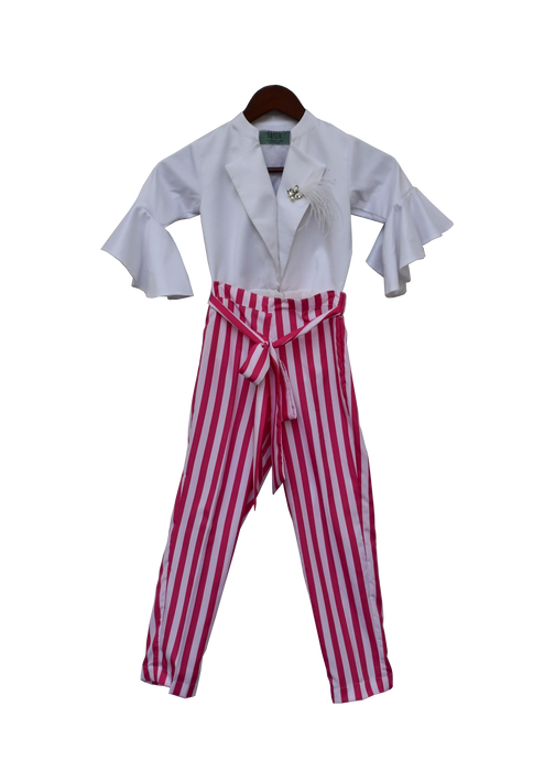 Girls White Knotted Top With Stripe Pants