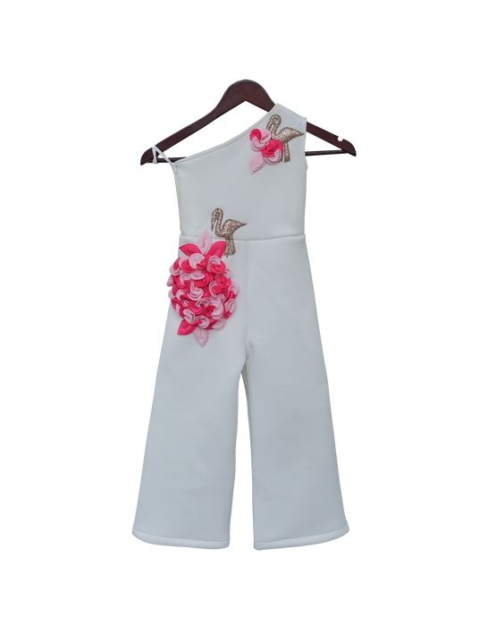 Girls White Lycra Jumpsuit