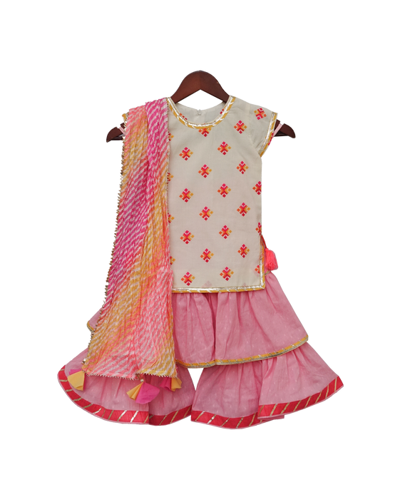 Girls White Multi Colour Bootie Kurti With Pink Sharara