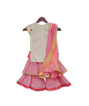 Load image into Gallery viewer, Girls White Multi Colour Bootie Kurti With Pink Sharara