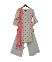 Load image into Gallery viewer, Girls White Multi Colour Bootie Kurti With Plazo