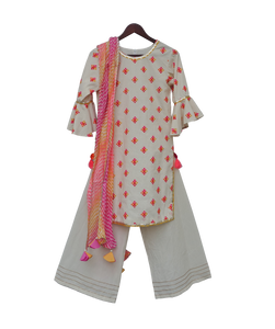 Girls White Multi Colour Bootie Kurti With Plazo