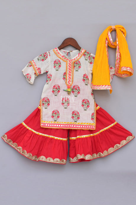 Girls White Printed Kurti With Coral Sharara