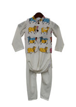 Load image into Gallery viewer, Boys White Printed Nehru Jacket With White Cowl Kurta And Churidar
