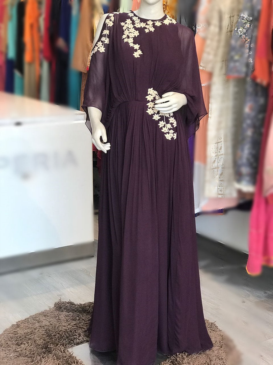 Wine Color Gown With Dori Embroidery by Perfect Panache