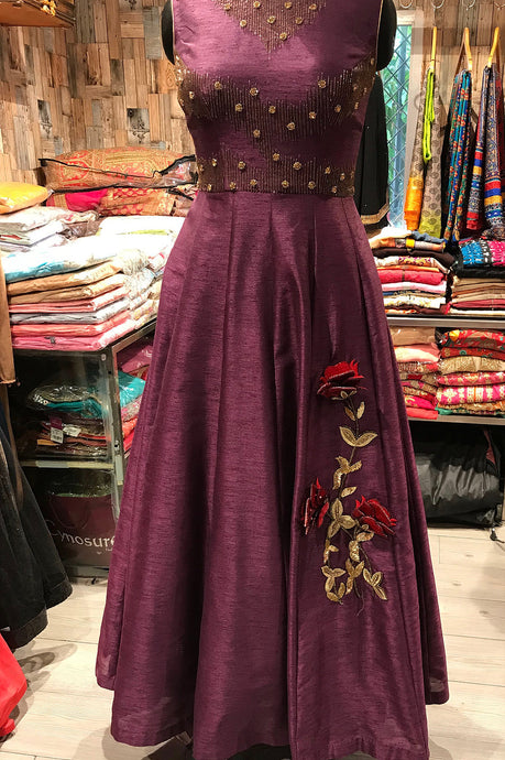 Wine Silk Gown by Perfect Panache