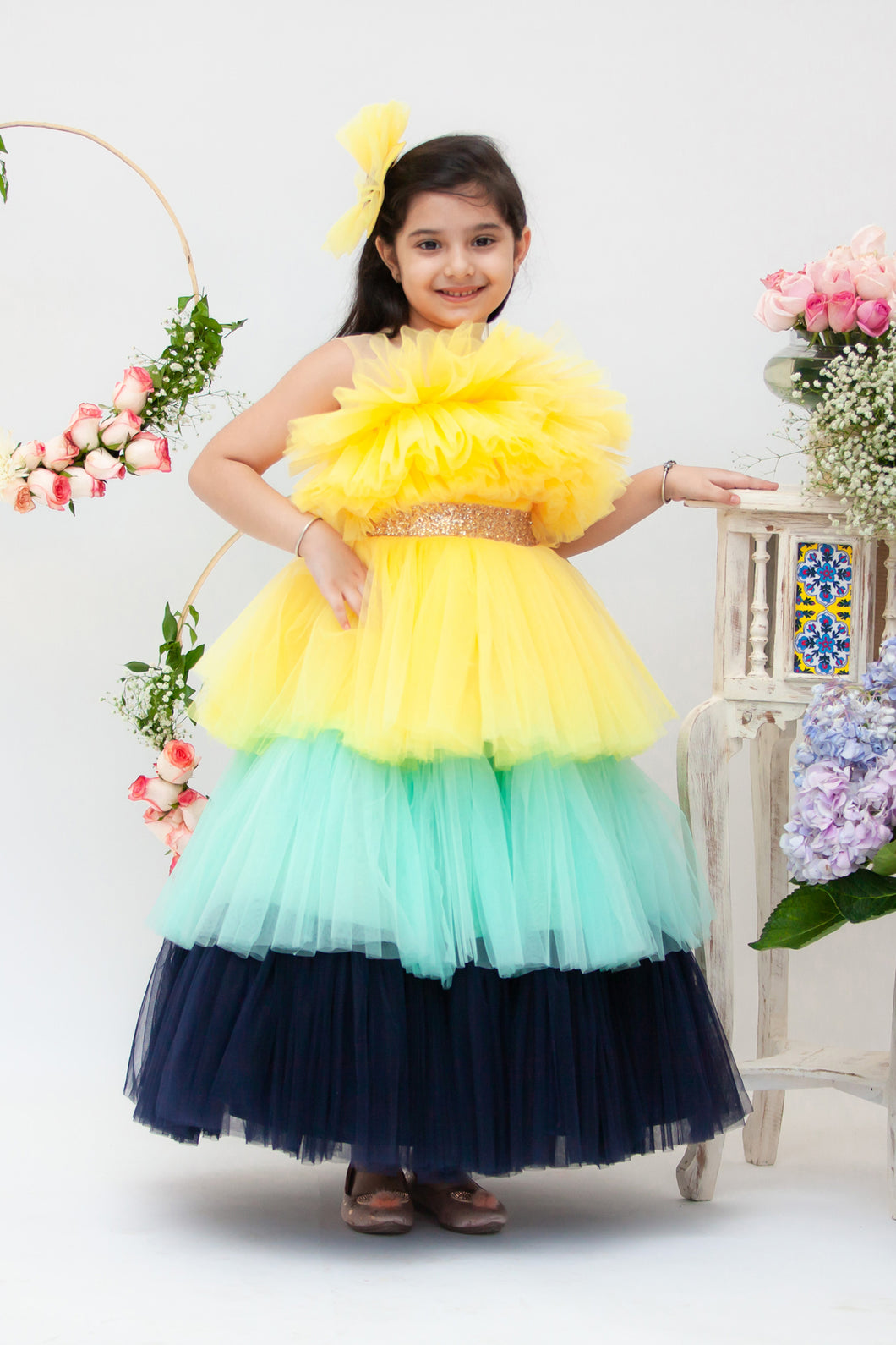 Girls Yellow Aqua And Blue Frill Gown